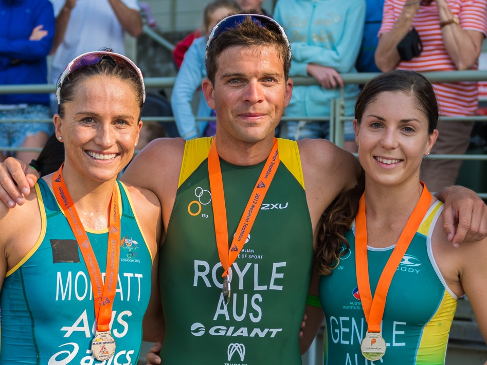 2013 Nepean Triathlon Emma Moffatt, Aaron Royle And Ashleigh Gentle